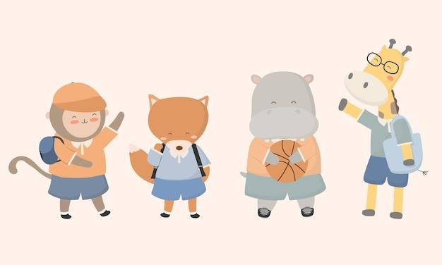 Bentornato a scuola con l'illustrazione piana dei personaggi di animali da scuola divertenti.