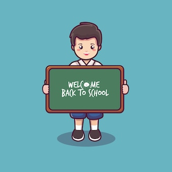 Welcome back to school with student and black board cartoon vector