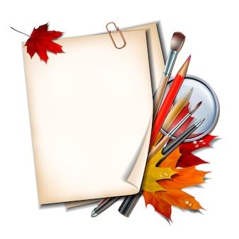 Добро пожаловать обратно в школу. школьные предметы и элементы. лист бумаги с осенними листьями, ручки, карандаши, кисти и увеличительное стекло на белом фоне.