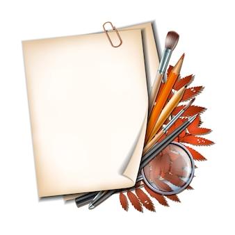 Добро пожаловать обратно в школу. школьные предметы и элементы. лист бумаги с осенними листьями, ручками, карандашами, кистями и увеличительным стеклом на белом фоне.