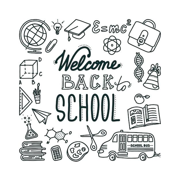 Добро пожаловать обратно в школу баннер с буквами рисованные предметы, необходимые в школе