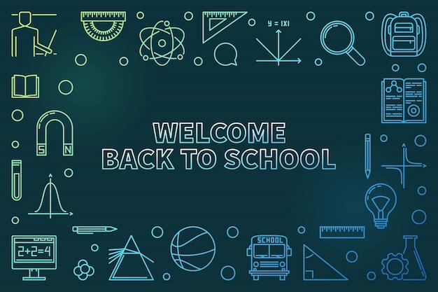 Добро пожаловать обратно в школу красочный линейный значок иллюстрации