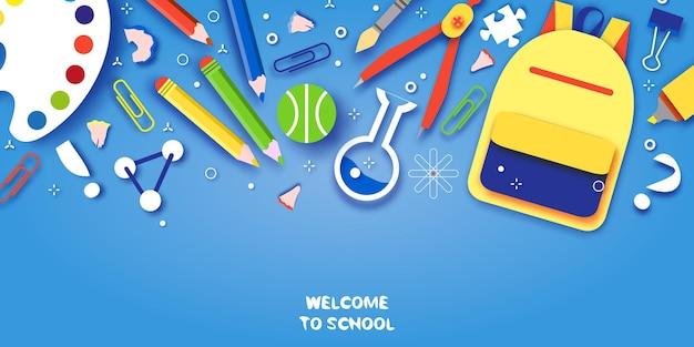 Добро пожаловать в школу. концепции образования. творческие детки. наука, искусство вырезать из бумаги стиль.