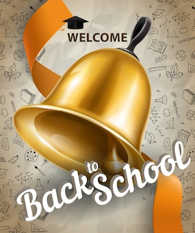 Welcome, back to school lettering and big bell