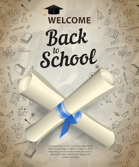 Welcome, back to school lettering and crossed diploma scrolls