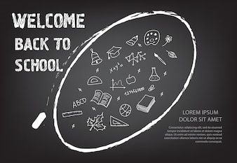 Welcome back to school lettering and doodles in chalk oval