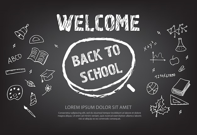 Добро пожаловать в школьную надпись в круге мела