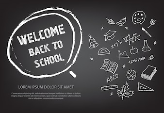 Welcome back to school lettering in hand drawn chalk circle