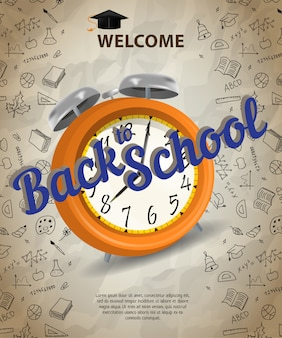 Welcome, back to school lettering with alarm clock