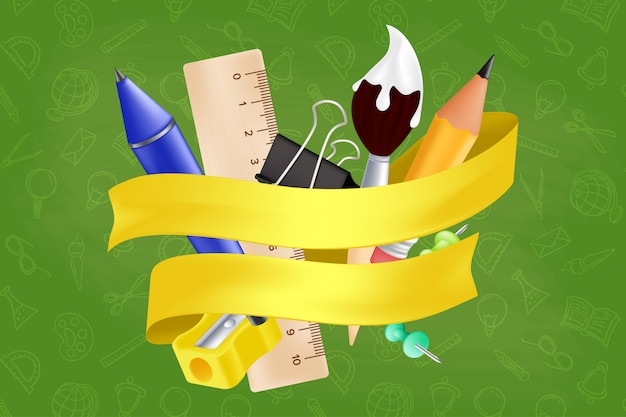 학교에 다시 오신 것을 환영합니다-연필, 자, 펜, 깎이, 푸시 핀, 종이 클립, 붓으로 설정된 물건. 현실적인 교육 항목 및 원활한 패턴에 노란 리본 그림