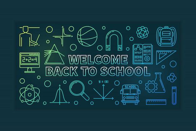Добро пожаловать обратно в школу наброски баннер