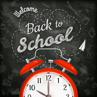 Добро пожаловать обратно в школу продажи фон с будильником.