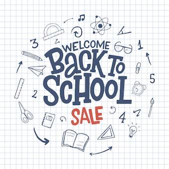 Добро пожаловать обратно в школу продажи рисованной каракули надписи надпись