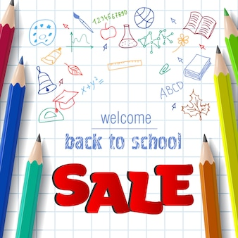 Welcome, back to school, sale lettering with doodle drawings