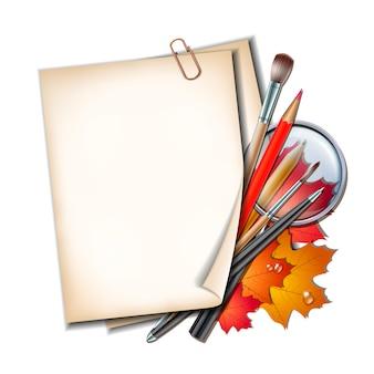 Добро пожаловать в школу. школьные предметы и элементы. лист бумаги с осенними листьями, ручки, карандаши, кисти и увеличительное стекло.