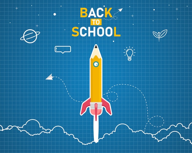 Добро пожаловать обратно в школу с идеями космической ракеты со школьными предметами и элементами.