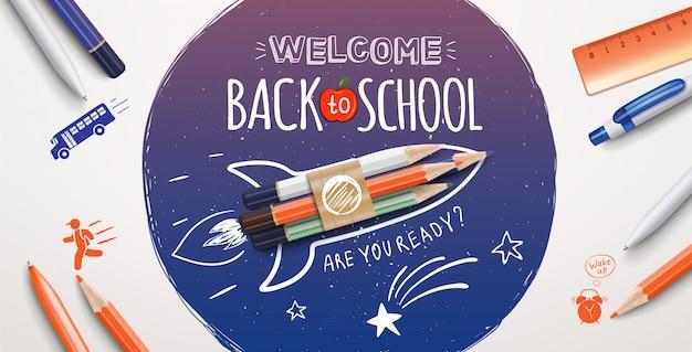 Добро пожаловать обратно в школу рисования текста со школьными предметами и элементами. добро пожаловать обратно в школу плакат. иллюстрация