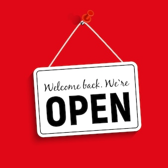 Welcome back. we are open sign  illustration