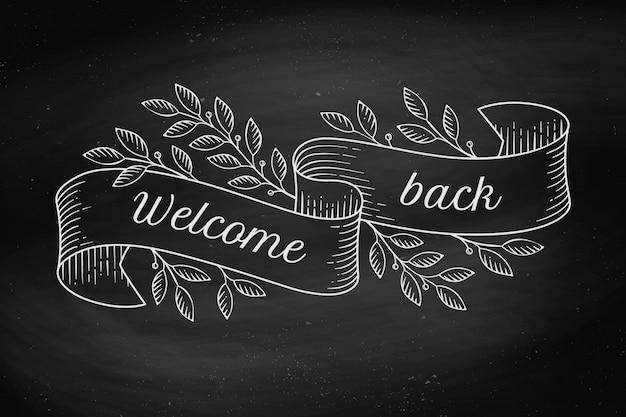 Открытка с надписью welcome back в стиле гравюры