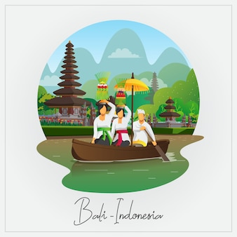Welcome to bali card with people ride boat with galungan ceremony equipment