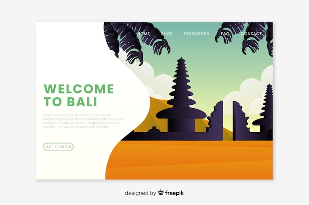 Welcome to bali landing page