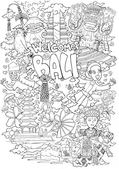 Welcome to bali outline illustration