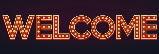 Welcome banner alphabet sign marquee light bulb