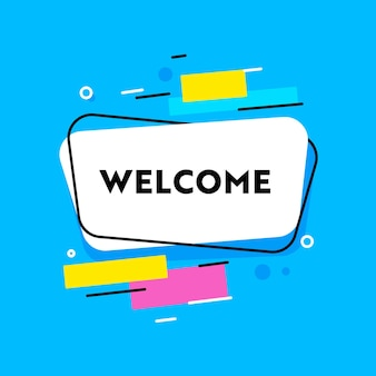 Welcome banner with typography and abstract shapes on blue background