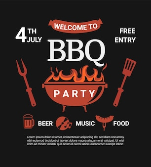 Welcome bbq party flyer.summer barbecue weekend cookout event with beer,food,music.design template for barbeque menu,poster,invitation banner, announcement.cooking outdoor.vector illustration.