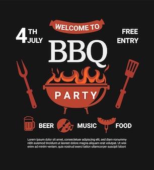 ようこそバーベキューパーティーのチラシ。ビール、食べ物、音楽を使った夏のバーベキュー週末クックアウトイベント。バーベキューメニュー、ポスター、招待状バナー、発表のデザインテンプレート。屋外での料理。ベクターイラスト。