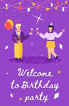 Welcome to birthday party - cartoon poster with couple celebrating