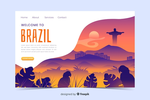 Welcome to brazil landing page template with landscape