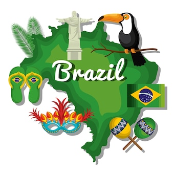Welcome to brazil representing icons vector illustration design