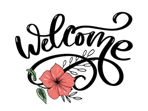 Welcome brush lettering