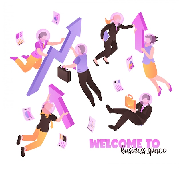 Welcome to business space white  with people holding briefcases and folders and flying  in zero gravity isometric