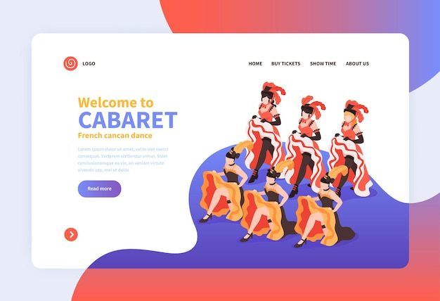 Welcome to cabaret landing page with group of dancing women wearing festival costumes with feathers