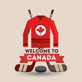 Welcome canada ice hocket jersey sticks puck poster