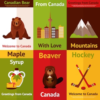 Welcome to canada illustrations set. from canada with love. canadian bear, mountains, beaver, maple syrup.