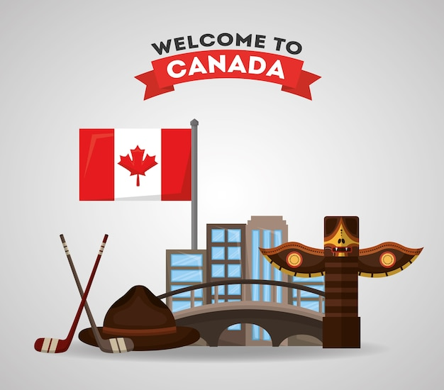 Welcome to canada totem city hockey sticks puck and flag