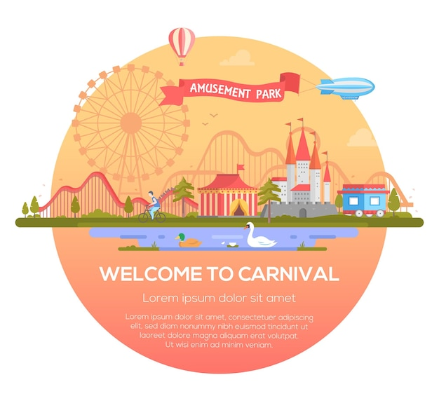 Welcome to carnival - modern vector illustration in a round frame with place for text. cityscape with attractions, circus, castle, pond with birds, airship. entertainment, amusement park concept