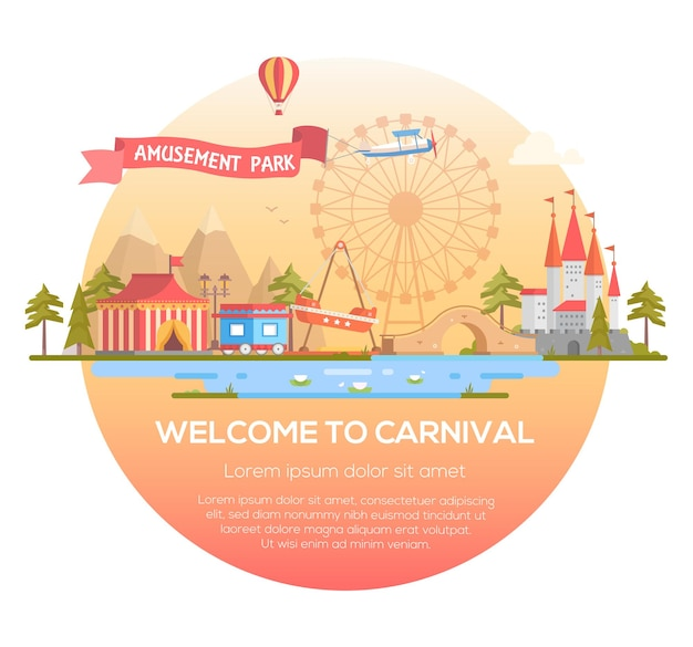 Welcome to carnival - modern vector illustration in a round frame with place for text. cityscape with attractions, circus pavilion, castle, mountains, pond. entertainment, amusement park concept
