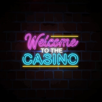 Welcome to casino neon sign illustration