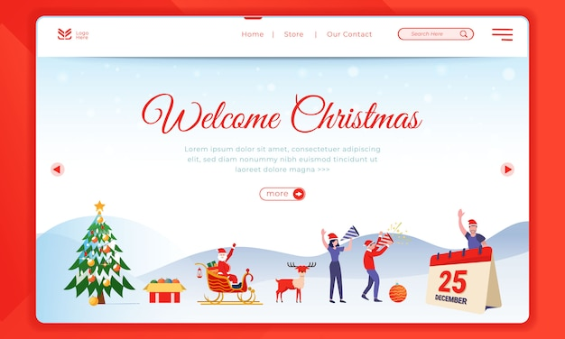 Welcome christmas illustration on landing page template
