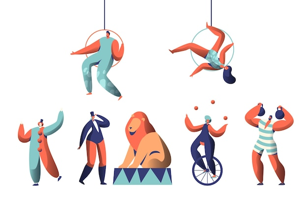 Welcome circus show with clown acrobat aerialists and animal set. woman juggler balance on unicycle. strongman lift weights. trained lion in arena with trainer. flat cartoon vector illustration