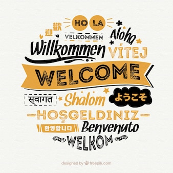 Welcome composition background with different languages