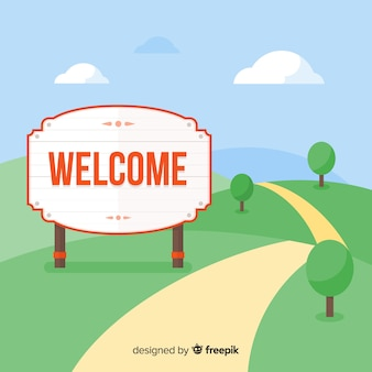 Welcome composition with flat design