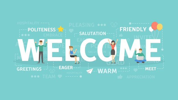 Welcome concept illustration. idea of greetings and invitation.