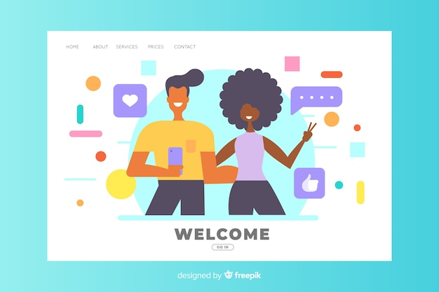 Welcome concept for landing page