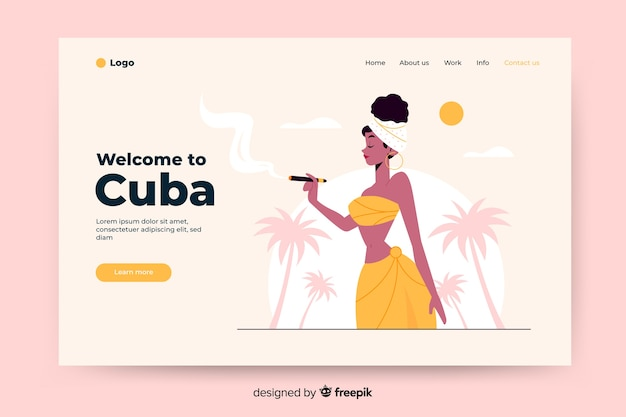 Welcome to cuba landing page with illustrations