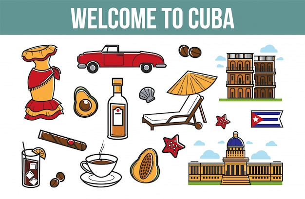 Welcome to cuba promotional poster with cultural symbols